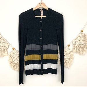 Bailey 44 Wool & Silk Striped Cardigan Sweater